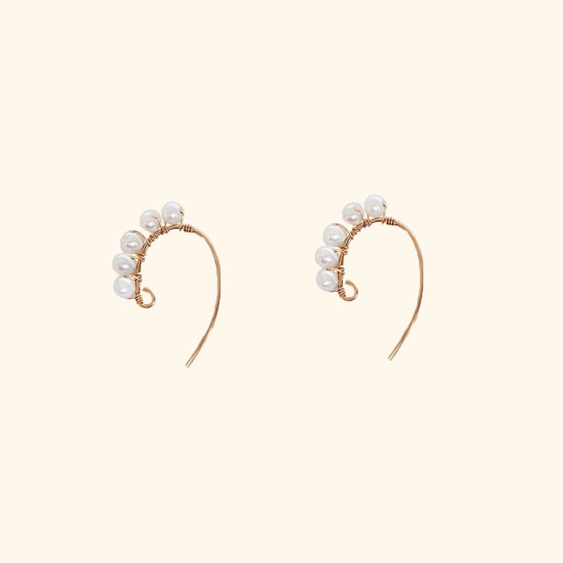 Mini Pearl Gold Hoop Earrings l Shop Lonna