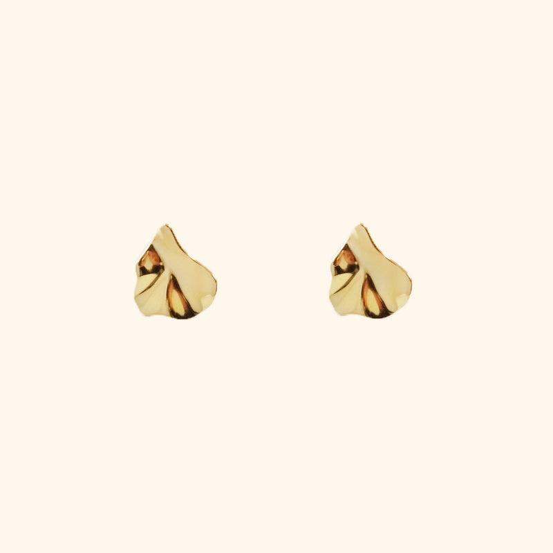 Irregular gold crinkle stud earrings l Shop Lonna