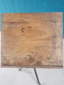 Small Tilt-Top Drafting Table with Rare Atomic Cast Iron Base