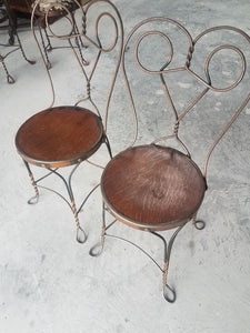 Cafe Ice Cream Chairs-Copper Flash Finish with Wood Seat