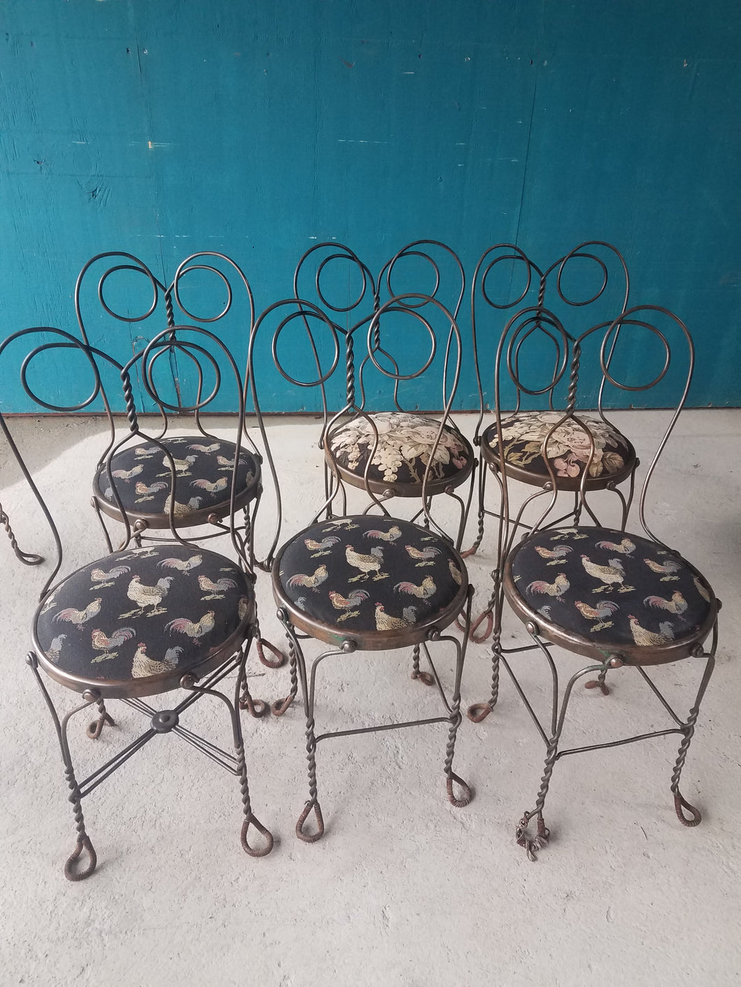 Cafe Bistro Ice Cream Chairs-Matching Swirl Backs-Mismatched Upholstery