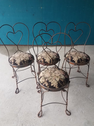 Cafe Bistro Ice Cream Chairs-Matching Heart-Back Style Floral Upholstery