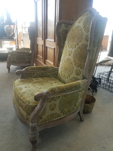 European Wingback Slipper Chairs-Pair