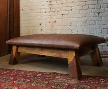 Load image into Gallery viewer, Leather Gym Bench Coffee Table Ottoman