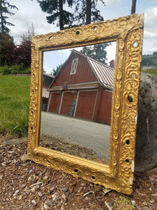 Ornate Antique Gilded Wood Mirror