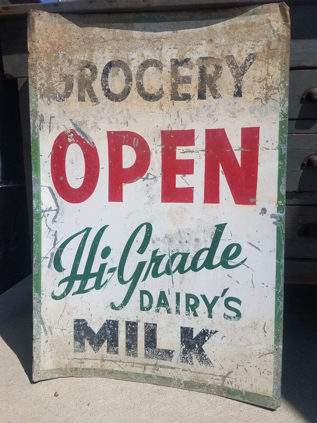 Vintage Metal Grocery Dairy OPEN Sign