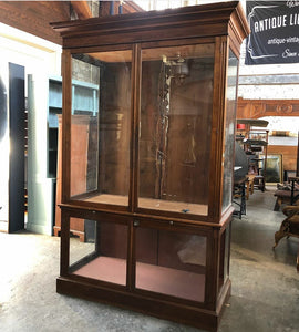 Antique Glass Jewelry Showcase Cabinet