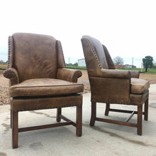 Load image into Gallery viewer, Henredon Leather Club Chairs (Pair)
