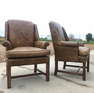 Henredon Leather Club Chairs (Pair)