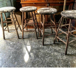 Old Hickory Stools with Cowhide Seat-Set of 4