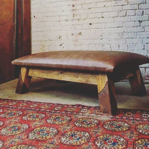 Leather Gym Bench Coffee Table Ottoman