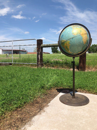 Antique Metal Globe on Stand