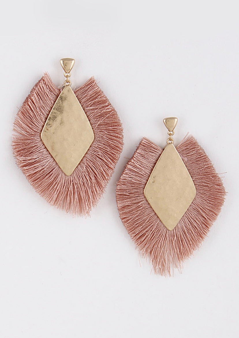 Pink Statement Fringe Earrings