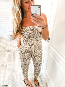 Strapless Leopard Print Jumpsuit(estimated restock 8/6)