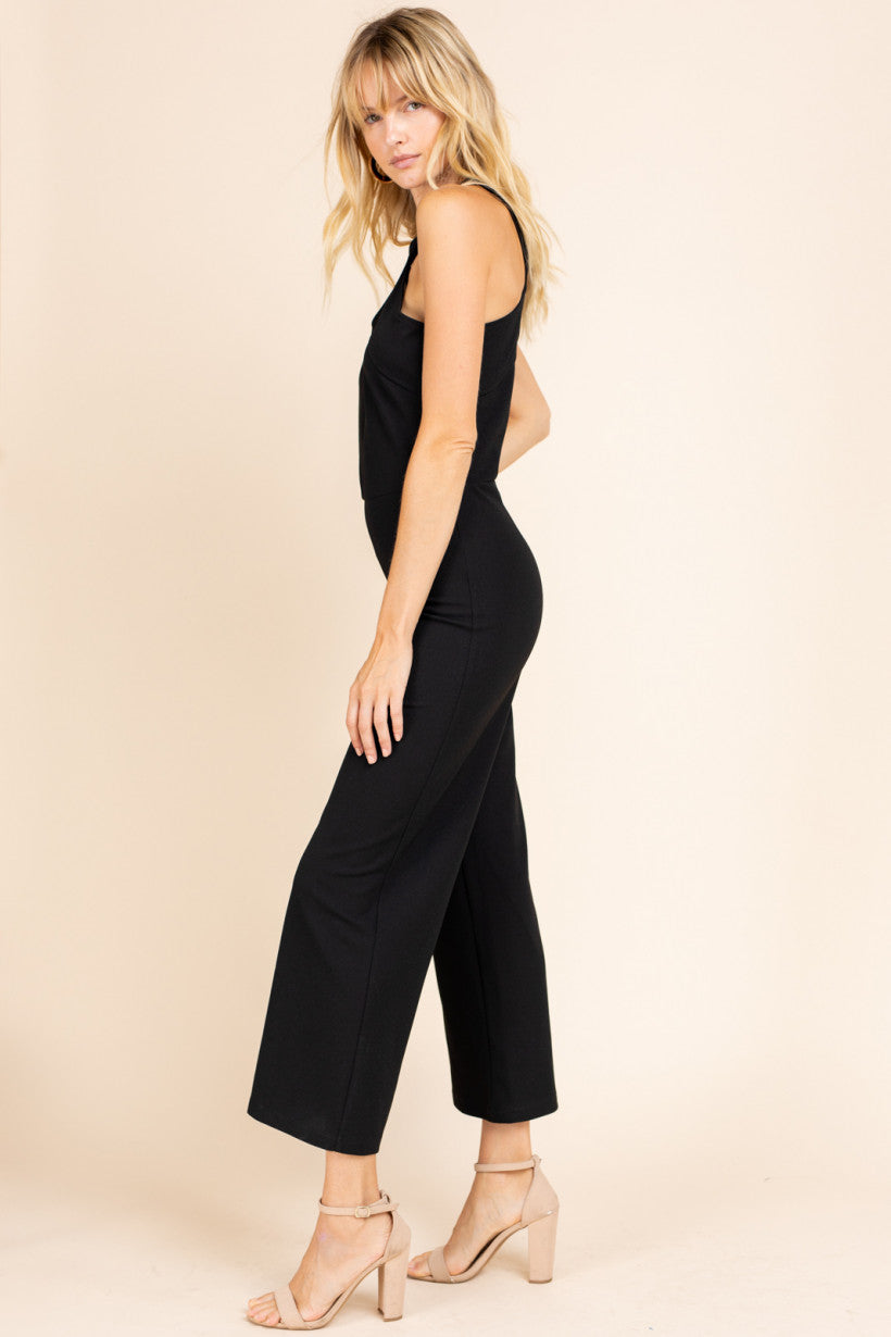 Cross Neck Solid Jumpsuit with Gold Zipper Detail