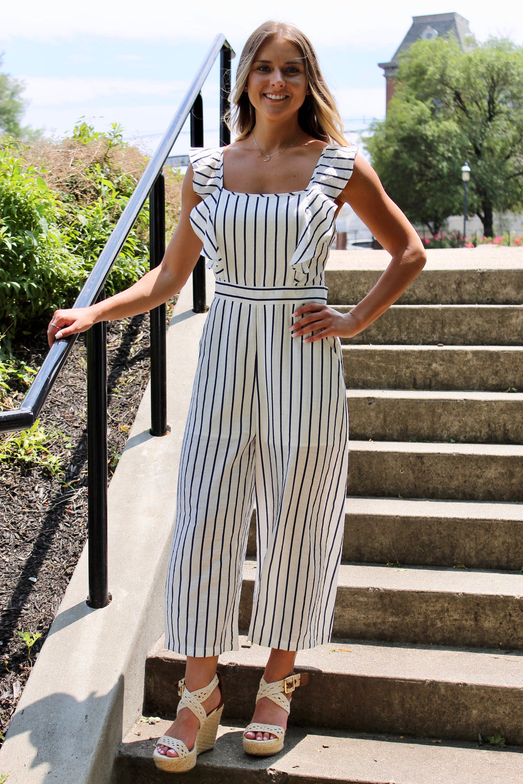 Ruffled Striped  Open Back Tie Jumpsuit