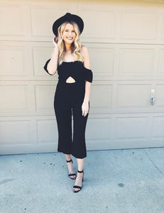 Short Sleeve Off Shoulder Jumpsuit With Cutout