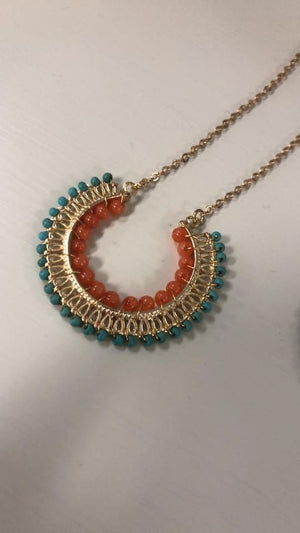 Half Circle Beaded Necklace- Turquoise/Coral