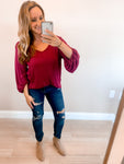 Burgundy Thermal Waffle Knit Blouse