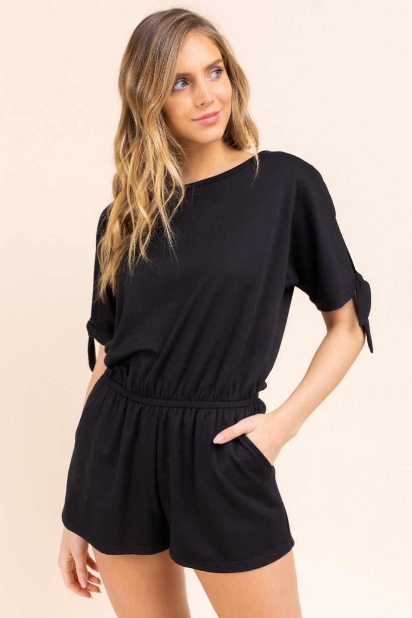 Elbow Sleeve Round Neck Romper