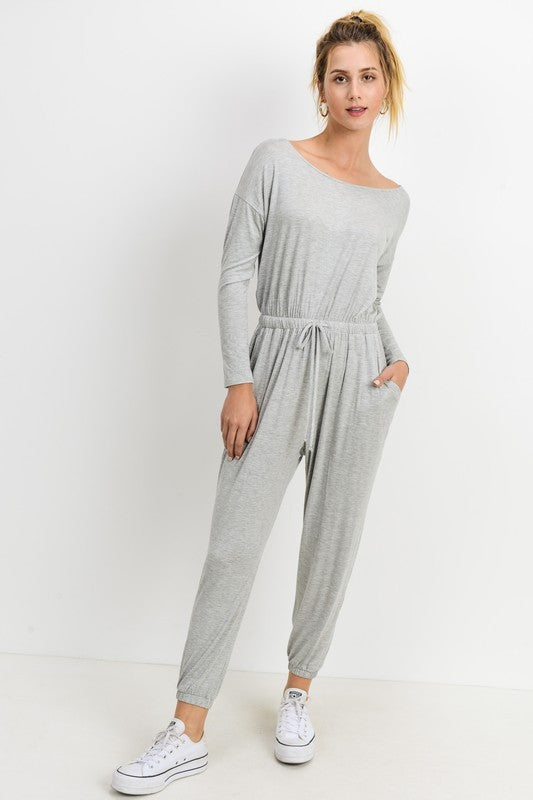 Grey Long Sleeve Jumpsuit