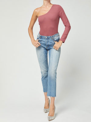 Marsala One Shoulder Long Sleeve Top