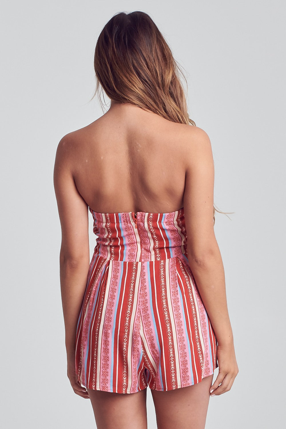 Strapless Front Tie Striped Romper