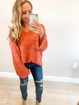 Rust Oversized V Neck Popcorn Sweater