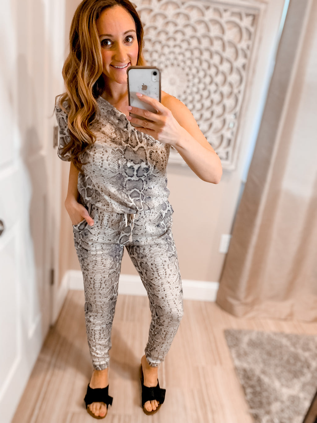 Snake Print One Shoulder Knit Jumpsuit
