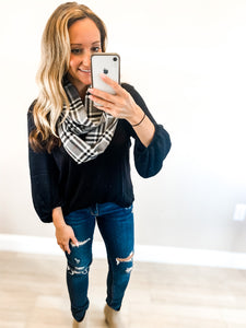 Charcoal Plaid Scarf with zipper pocket