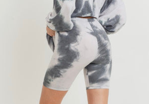 Charcoal Tie Dye Set with Biker Shorts
