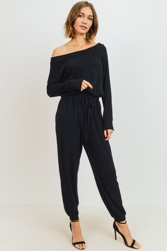 Brushed Knit Off Shoulder Jumpsuit
