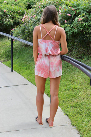 Rose Tie Dye Cross Strap Romper