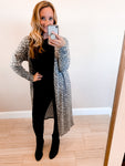 Grey Leopard Brushed Knit Cardigan Duster