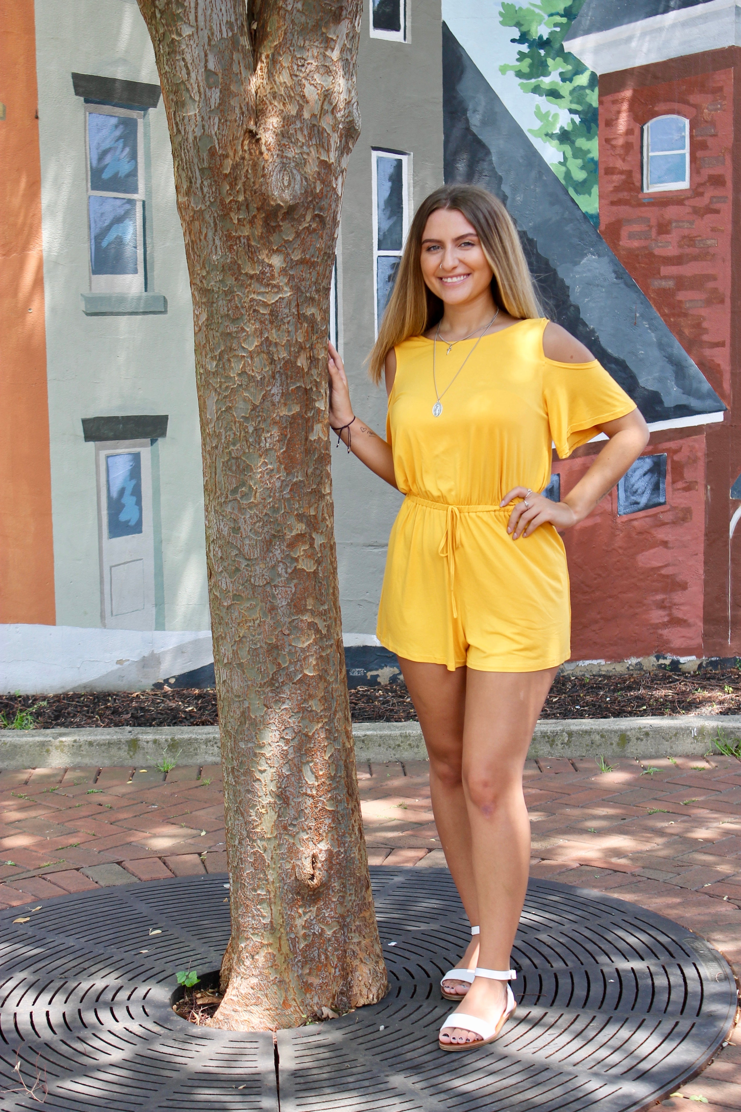 Short Sleeve Cold Shoulder Romper