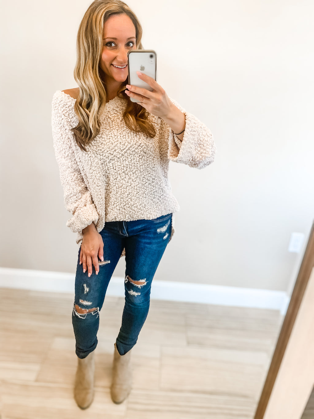 Oatmeal Oversized Popcorn Sweater