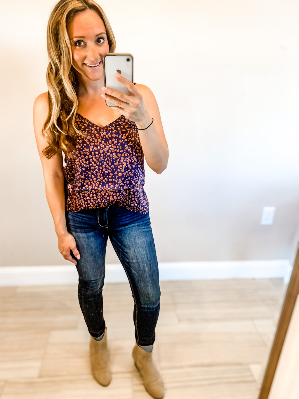 Navy Animal Print Cami