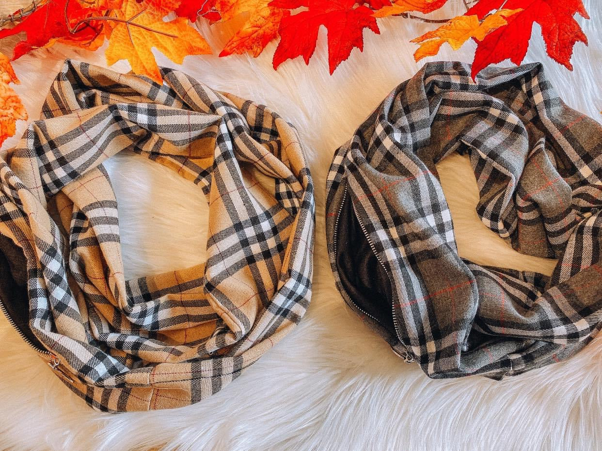Taupe Plaid Scarf with Zipper pocket.