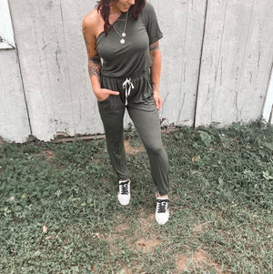 One Shoulder Olive Jumpsuit