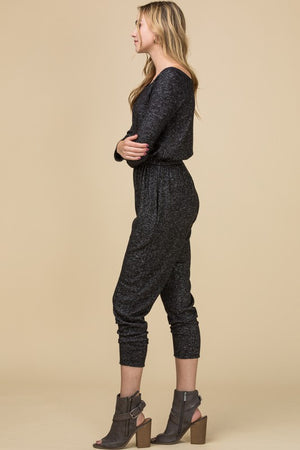 Black Heathered-neck Jumpsuit