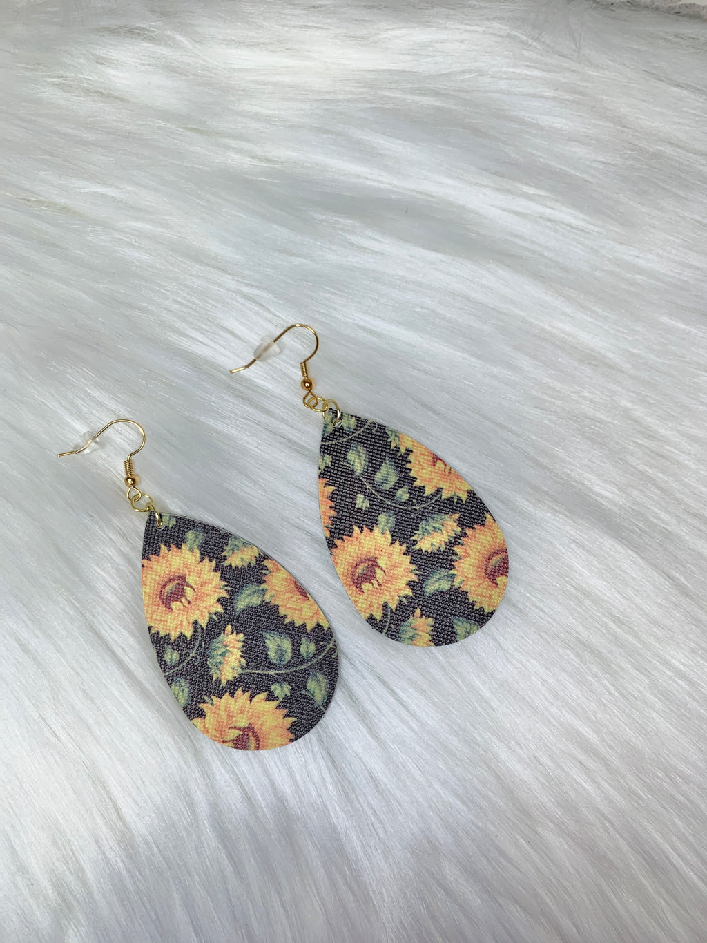 Sunflower Teardrop Earrings