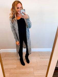 Oatmeal Leopard Brushed Knit Cardigan Duster