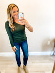 Olive One Shoulder Long Sleeve Top