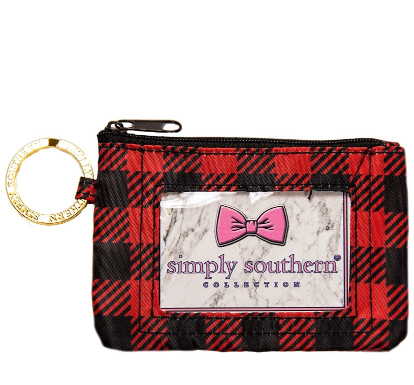 Plaid Coin Zip ID Case