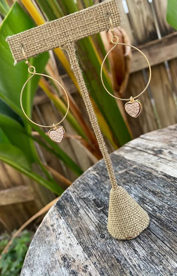 Rose Gold Heart Dangles