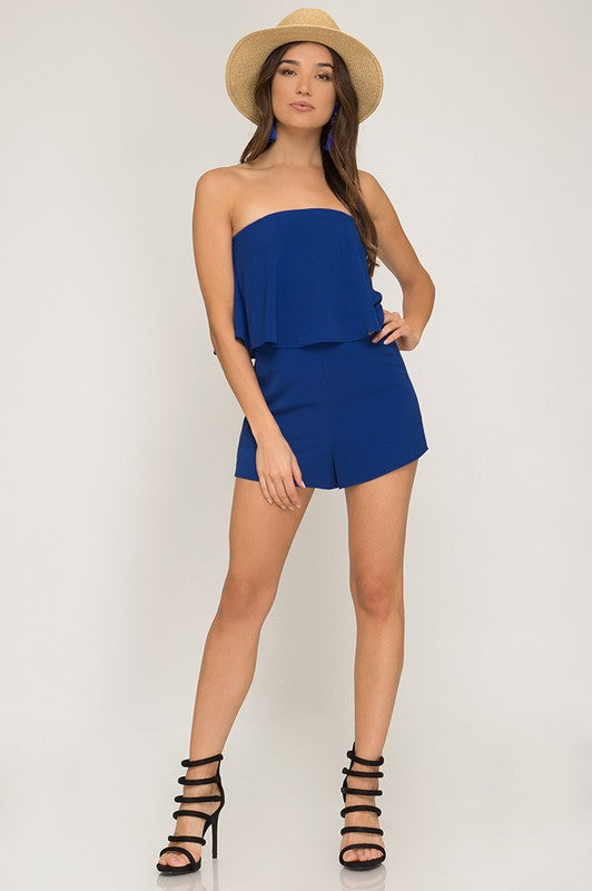Strapless Layered Romper with Pockets