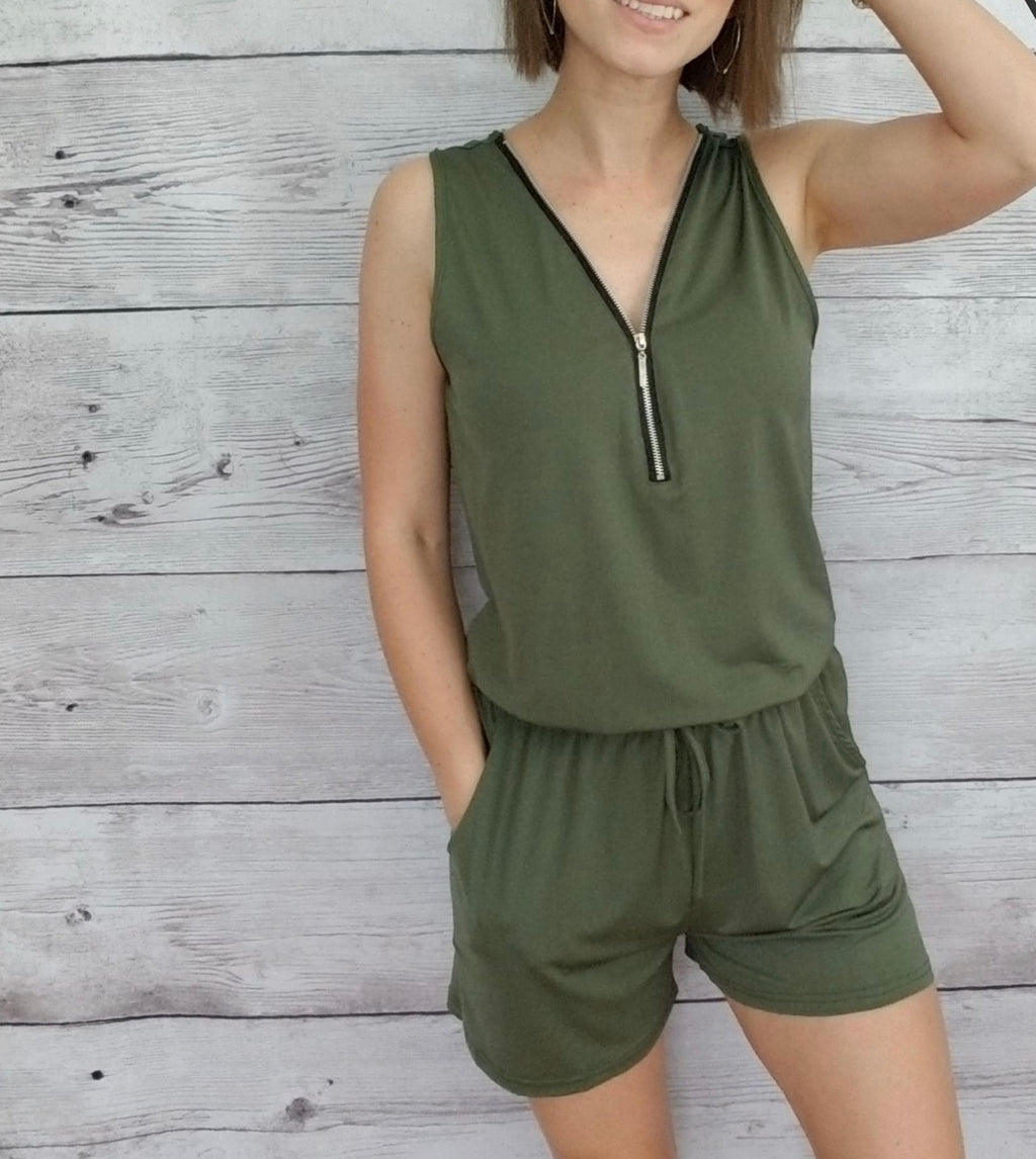Olive Zipped Up Romper