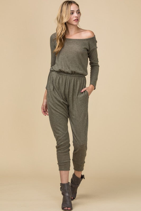 Olive Knit Jumpsuit