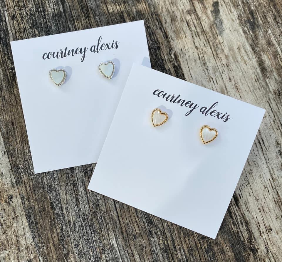 White and Silver Heart Earrings