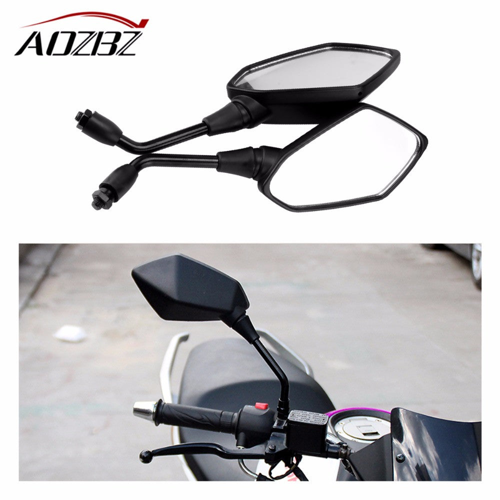 2pcs Universal Motorcycle Rearview Mirror 360 Degrees Rotatable Scooter Side Mirror Left & Right 10mm Scooter Mirror